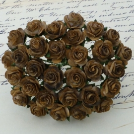 2-Tone Chocolate Brown Open Roses - 15 mm