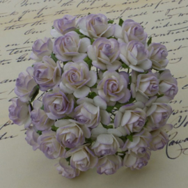 2-Tone Pale Lilac Open Roses - 15 mm