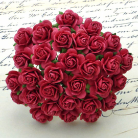 Coral Red Open Roses - 15 mm