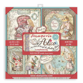 Stamperia Alice in Wonderland and Through the Looking Glass 12x12 Inch Maxi Paper Pack