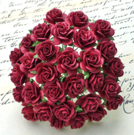 Burgundy Open Roses - 15 mm