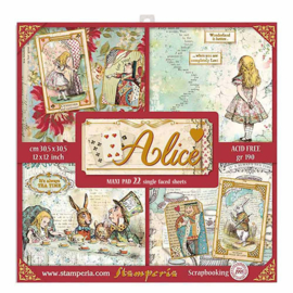 Stamperia Alice Gold 12x12 Inch Paper Pack