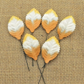 2-Tone Brown White Orange Leaves 35 mm