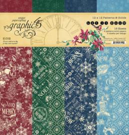 Pre-order Graphic 45 Let it Snow 12x12 Paper Pad  Patterns & Sollids