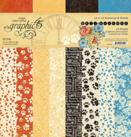 Graphic 45 Well Groomed 12x12 Paper Pad  Patterns & Sollids