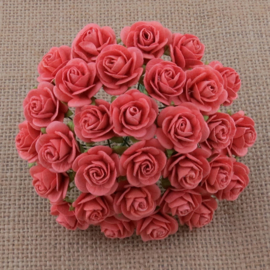 Coral Open Roses - 10 mm