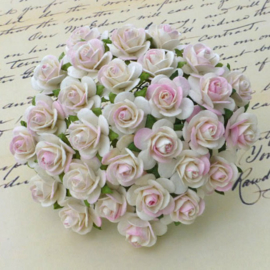 2-Tone Ivory/Pale Pink Open Roses - 15 mm