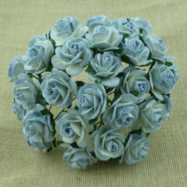 2-Tone Antique Blue Open Roses - 20 mm
