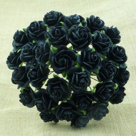 Jet Black Open Roses - 20 mm