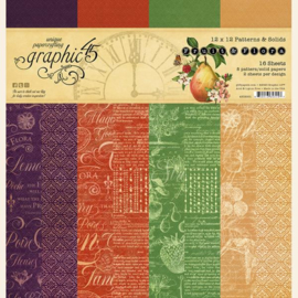 Graphic 45 Fruit & Flora 12x12 Paper Pad  Patterns & Sollids