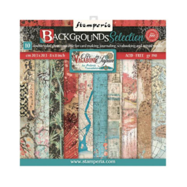 Stamperia Sir Vagabond in Japan 8x8 Inch Paper Pack Backgrounds Selection