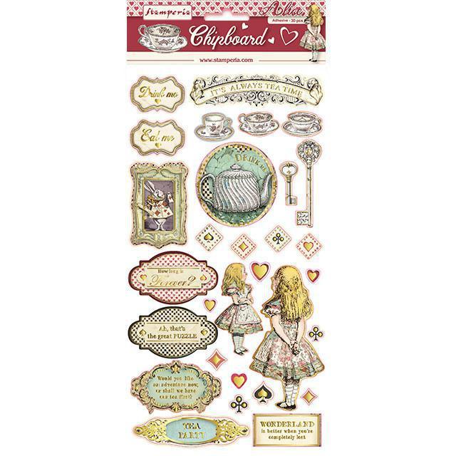 Stamperia Alice Gold Chipboard