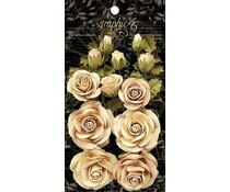 Graphic 45 Rose Bouquet Collection Classic Ivory & Natural Linen Flowers