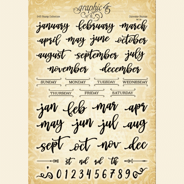 Graphic 45 Calendar Clear Stamps