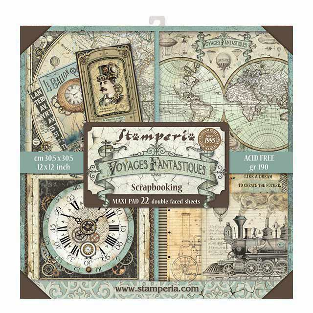 Stamperia Voyages Fantastiques 12x12 Inch Maxi Paper Pack