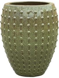 Keramiek plantenbak  'Lucia' glanzend groen D54 x H67 cm
