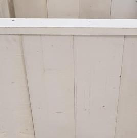 Steigerhouten plantenbak geschaafd wit 120x46x60 cm incl. verzonken zwenkwielen