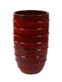 Keramiek plantenbak 'Umi'  glazuurlaag rood Ø43 x H72 cm