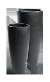 Ronde plantenbak `Kentucky` (set, 2 stuks). Afmetingen: Ø47 x H100 en Ø36 x H80 cm. Kleur: Stone Black
