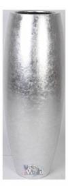 Ronde plantenbak `Surabaja`. Afmeting:  Ø37 x H100 cm. Kleur: Shiny Silver