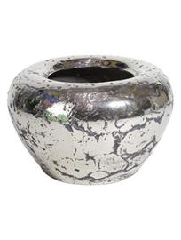 Keramiek plantenbak  'Mimi' rustiek zilver/chrome Ø54 x H35 cm
