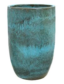 Keramiek plantenbak  'Coco' turquoise geglazuurd Ø41xH63 cm