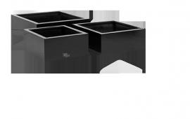 Vierkante plantenbak `Haiti`. (Set, 3 stuks) Kleur: Shiny Black