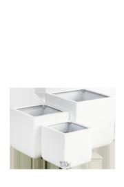 Vierkante plantenbak `Greenland`. (Set, 3 stuks) Kleur: Shiny White