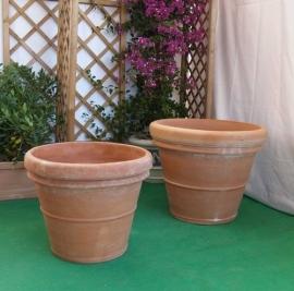 Handgemaakte Terracotta pot `Vaso Doppio Pisa` Ø90xH75