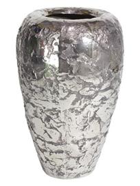 Keramiek plantenbak  'Mimi' rustiek zilver/chrome Ø46 x H74 cm