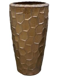 Keramiek plantenbak  'Honey' goudkleurig Ø52 x H95 cm