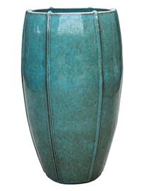 Keramiek plantenbak  'Felice' turquoise geglazuurd Ø43xH72 cm