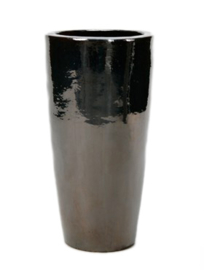 Keramiek plantenbak  'Alonzo' metaalblauw geglazuurd D46xH90 cm