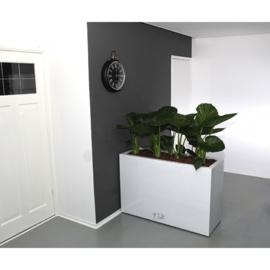 Rechthoekige plantenbak `Chicago` op wielen. Afmeting: H80 x L120 x D45 cm. Kleur: Shiny White.