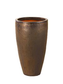 Keramiek plantenbak  'Verla' goudkleurig Ø52 x H90 cm