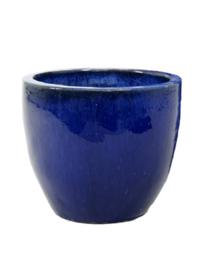 Keramiek plantenbak  'Vico' blauw geglazuurd D46xH43 cm