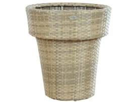 Wicker plantenbak 'Vasco'- kunststof vlechtwerk bloembak Cappucinno 62x70 m