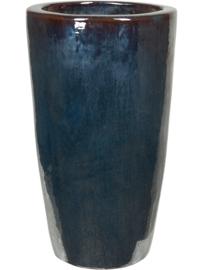 Keramiek plantenbak  'Alonzo' metaalblauw geglazuurd D36xH70 cm