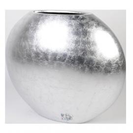 Ronde plantenbak `Bonaire Big`. Afmeting:  H63xB75xD35 cm. Kleur: Shiny Silver