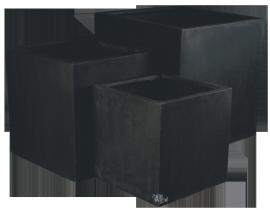Vierkante plantenbak `El Salvador`. (Set, 3 stuks) Kleur: Shiny Black