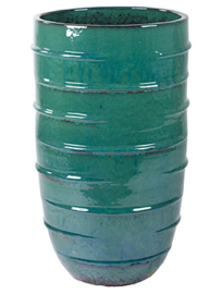 Keramiek plantenbak  'Bice' turquoise geglazuurd Ø43xH72 cm