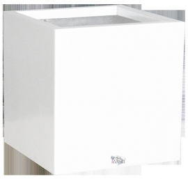 Vierkante plantenbak `Bologna`. Afmeting: H60 x L60 x D60 cm. Kleur: Shiny White