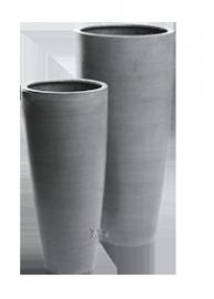 Ronde plantenbak `Kentucky` (set, 2 stuks). Afmetingen: Ø47 x H100 en Ø36 x H80 cm. Kleur: Stone Grey