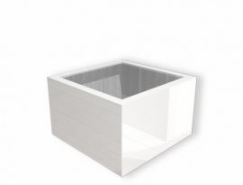 Hoogglans polyester plantenbak `Piazza` 1000x1000x600mm