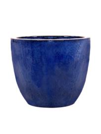 Keramiek plantenbak  'Vico' blauw geglazuurd D53xH49 cm