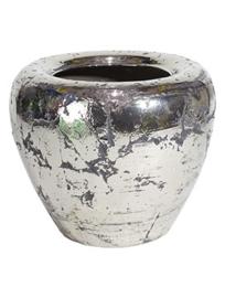 Keramiek plantenbak  'Mimi' rustiek zilver/chrome Ø55 x H46 cm