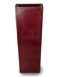Keramiek plantenbak 'Umi'   glazuurlaag rood  L36 x B36 x H90 cm