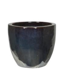 Keramiek plantenbak  'Alonzo' metaalblauw geglazuurd D53xH49 cm