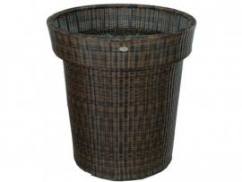 Wicker plantenbak 'Vasco'- kunststof vlechtwerk bloembak Bruin 62x70 cm