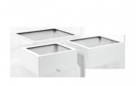 Vierkante plantenbak `Haiti`. (Set, 3 stuks) Kleur: Shiny White